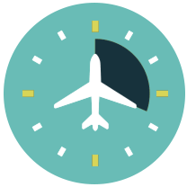 Airplane on top of a clock